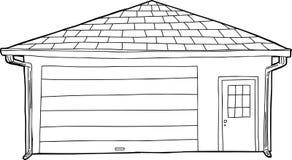 Skisserat enkelt garage med dörren Royaltyfria Bilder