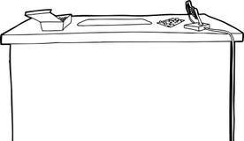 Skisserat skrivbord med elektronik Arkivfoton