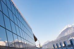 Skistation Hauser Kaibling - eins von ?sterreichs Spitzenskiorten: 44 Skilifte, 123 Kilometer Skipisten, Parkplatz, Schladminger stockbilder
