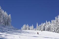 Skisteigung auf Gebirgsseite lizenzfreie stockfotografie