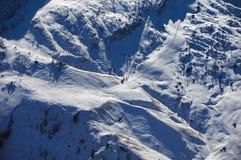 Skisteigung von der Oberseite Stockfoto