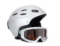 Skisturzhelm und Skischutzbrillen Stockfotografie
