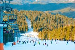 Skitoevlucht bij zonsondergang Royalty-vrije Stock Foto