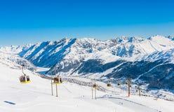 Skitoevlucht Livigno Italië Stock Afbeelding