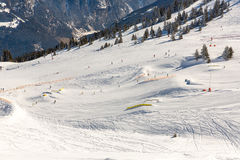 Skitoevlucht Slechte Gastein in de winter sneeuwbergen, Oostenrijk, Land Salzburg Royalty-vrije Stock Foto