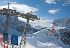 Skitoevlucht van Selva di Val Gardena, Italië Royalty-vrije Stock Foto