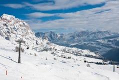 Skitoevlucht van Selva di Val Gardena, Italië Stock Foto's