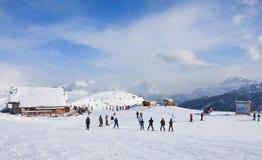 Skitoevlucht van Selva di Val Gardena, Italië Stock Fotografie