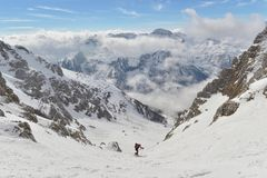 Skitouring 免版税库存图片