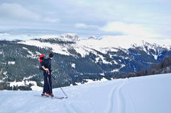 Skitouring auf OfenSpitze, Lesachtal nahe Obertilliach Österreich Stockbild