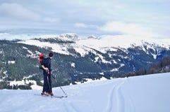 Skitouring op OfenSpitze, Lesachtal dichtbij Obertilliach oostenrijk Stock Afbeelding