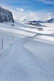 Skitrack in powder snow Royalty Free Stock Photos