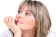 Skittish and pensive woman portrait Royalty Free Stock Photos