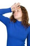 Skittish woman Stock Images