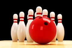 Skittle and Bowling Ball Royalty Free Stock Photo