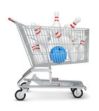 Skittle and bowling ball in shopping cart Stock Photos