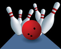 Skittles and ball. Bowling. Skittles on a black background Royalty Free Stock Photo