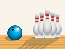 Skittles and ball. In a bowling alley Royalty Free Stock Image
