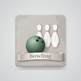 Skittles and ball for bowling game vector icon. Royalty Free Stock Photography