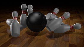 Skittles and ball for bowling. illustration Royalty Free Stock Photography