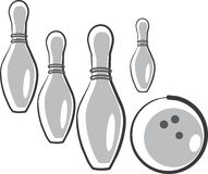 Skittles and ball for game in bowling Royalty Free Stock Images