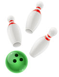 Skittles and ball for playing the bowling game Royalty Free Stock Photo