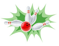 Skittles and ball for playing the bowling game Royalty Free Stock Image