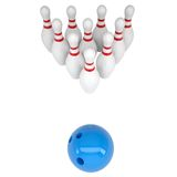Skittles and blue bowling ball Stock Images