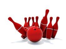 Skittles for bowling. Red skittles for bowling isolated on white background Royalty Free Stock Photo