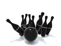 Skittles for bowling. Black skittles for bowling isolated on white background Stock Images