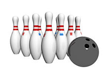 Skittles and bowling ball Stock Image