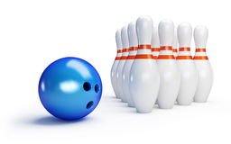 Skittles and bowling ball. On a white background Royalty Free Stock Photos
