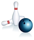 Skittles and bowling ball Royalty Free Stock Photo