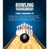 Skittles and bowling ball on bowling court. Skittles and bowling ball on wooden bowling court - bowling  poster Stock Photos