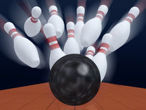 Skittles for game in bowling with ball Stock Images