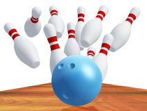 Skittles for game in bowling with blue ball Stock Photography