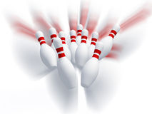 Skittles for game in bowling. Effect motion. Royalty Free Stock Image