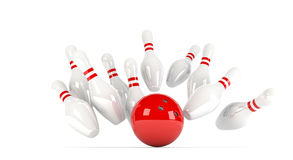 Skittles with red bowling ball. 3D illustration of ten pins / skittles with red bowling ball Stock Photo