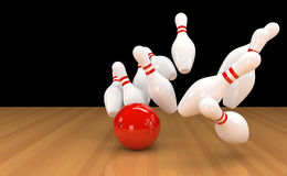 Skittles with red bowling ball. 3D illustration of ten pins / skittles with red bowling ball Royalty Free Stock Images