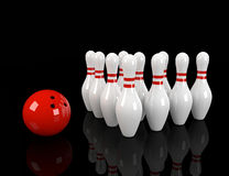 Skittles with red bowling ball Royalty Free Stock Photo