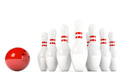 Skittles with red bowling ball. 3D illustration of ten pins / skittles with red bowling ball isolated on white background Stock Image