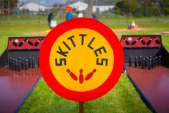 Skittles sign Stock Photo