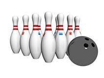 Skittles und Bowlingspielkugel Stockbild