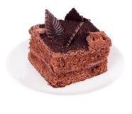 Skiva av chokladtårtan fotografering för bildbyråer