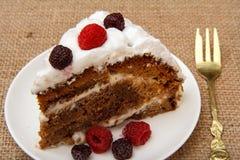 Skiva av den hemlagade ljusbruna kakan som dekoreras med piskade kr?m och hallon arkivfoto