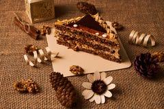 Skiva av den ljusbruna kakan med choklad Arkivbild