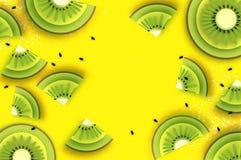 Skiva av kiwien Top beskådar Kiwi Super Summer i papperssnittstil Saftiga mogna gräsplanskivor för origami Sund mat på guling vektor illustrationer