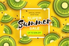 Skiva av kiwien Top beskådar Kiwi Super Summer Sale Banner i papperssnittstil Saftiga mogna gräsplanskivor för origami sund mat royaltyfri illustrationer
