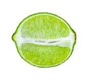 Skiva av limefrukt på vitbakgrund Fotografering för Bildbyråer