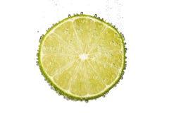Skiva av limefruktcitronen i vatten med bubblor Arkivbild